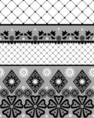 Black seamless lace pattern with fishnet — Stock Photo