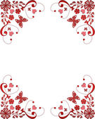 Red frame floral border with butterflies and hearts — ストック写真