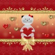 Stock Photo: Valentine card with cat