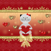 Valentine card with cat — Stock Photo