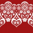White seamless valentine lace pattern on red — Stock Photo