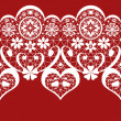 Stock Photo: White seamless valentine lace pattern on red