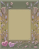 Floral frame with hearts and ornament — Stock Photo