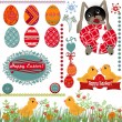 Easter greeting card with eggs — 图库照片