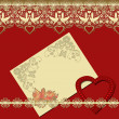 Invitation vintage frame with golden lace on red — Stock Photo #38424979