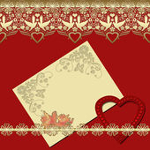 Invitation vintage frame with golden lace on red — Stock Photo