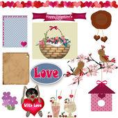 Scrapbook instellen met de dag van valentijnskaarten elementen op wit — Stockfoto