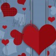 Seamless valentine card pattern with hearts on blue — Stock Photo #38865159