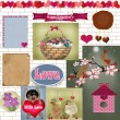 Stock Photo: Scrapbook card set with valentines day elements on white
