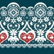 White seamless valentine lace pattern texture on blue — Stock Photo