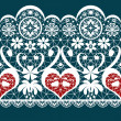 Stock Photo: White seamless valentine lace pattern texture on blue
