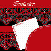 Invitation frame with red lace on black — ストック写真