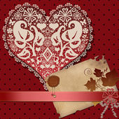 Invitation vintage letter paper with lacy heart on red dotted — Stockfoto