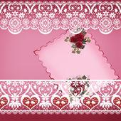 Винтажная открытка приглашение с кружевом на розовый — Стоковое фото