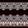 White seamless valentine lace lacy pattern texture on black — Stock Photo