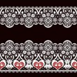 Stock Photo: White seamless valentine lace lacy pattern texture on black