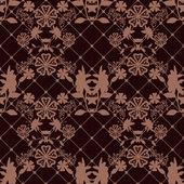 Textura vzor bezešvé krajky s síťované na hnědé — Stock fotografie