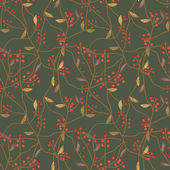 Seamless scroll floral berry pattern on green — Stock Photo