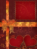 Invitation letter with hearts with bow on red — Stok fotoğraf