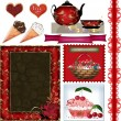 Stock Photo: Scrapbook frame set with valentines day elements on white