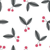 Seamless floral berry cherry pattern on white — Stock Photo