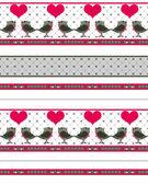 De dag van valentijnskaarten naadloze patroon met vogels en harten op wit — Stockfoto