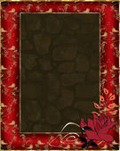 Floral frame with birds and rose on red — Foto de Stock