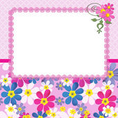 Floral frame with flowers and lace on pink — 图库照片