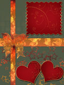 Invitation letter with hearts with bow on green — Stok fotoğraf