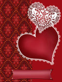 Invitation letter with lacy hearts on red — Foto de Stock