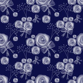 Blue roses seamless pattern background — Foto de Stock