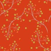 Seamless floral pattern texture on orange background — Stock Photo