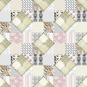 Patchwork beige pink squares seamless pattern texture — Stock Photo