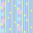 Childrens seamless floral pattern on striped — Stock Photo