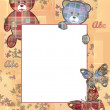 Cute kids frame with bears and leaves on beige — Stock Photo