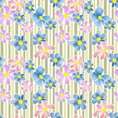 Seamless floral pattern texture on striped background — Stock Photo