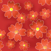 Seamless floral pattern texture on red background — Stock Photo
