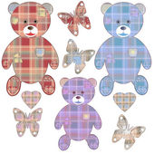 Set of applique teddy bears, hearts and butterflies — Stock Photo