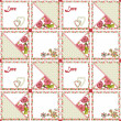 Patchwork seamless pattern hearts and flowers — Stock Photo