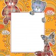 Cute kids frame with bears on yellow — Stock Photo #42012821