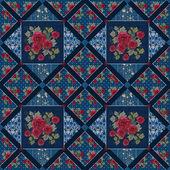 Patchwork bunte rosen nahtlose muster textur — Stockfoto