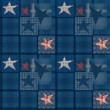 Seamless jeans denim patchwork stars pattern — Stock Photo