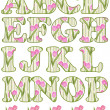 Floral alphabet set, letters A - P — Stock Photo