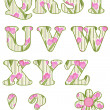 Floral alphabet set, letters Q - Z — Stock Photo