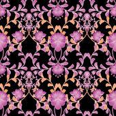 Floral seamless pattern with flowers texture gzhel on black — Stockfoto