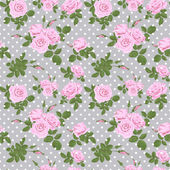 Pink roses seamless pattern on dotted — Stock Photo