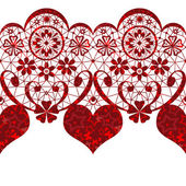 Red lacy heart seamless pattern on white — Stock Photo