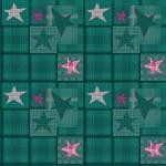 Seamless jeans denim kids patchwork stars pattern — Stock Photo