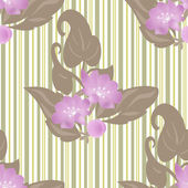Spring seamless floral pattern on striped — Stock Photo