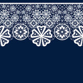 White seamless lacy lace pattern on blue — Stock Photo